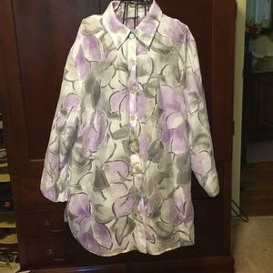 Alfred Dunner blouse, 22W, white, gray, purple